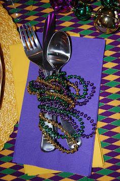 Mardi Gras Beads Tablescape