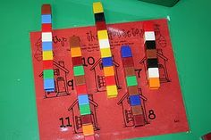 counting and number recognition - build the chimney for the house (3 litle pigs)