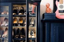 Use your cabinets for anything you want. Instead of displaying your china, display your shoes. This is great for a bedroom or dressing room. Sincerely, JoAnne Craft shoe display, shoe closet, shoe storage, closet space, shoe cabinet