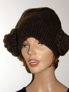 Chocolate Brown Princes  Leia hat  Upcycled merino wool sweater