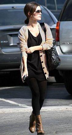 Black tunic + tan cardi + black leggings + booties... Maybe I can wearing my leggings :/