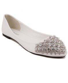 Bling Bling Ballet Flats in White