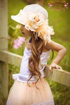 hats, little girls, easter, little princess, dress up, children, peach, flower girl, kid