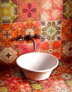 azulejo hidráulico decor, interior, idea, tiles, color, inspir, hous, bathroom, design