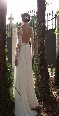 Lace sleeves and open back