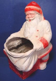 Vintage Christmas Collectible ~ Santa Claus Paper Mache Candy Container