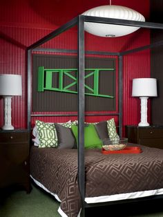 color palett, red, ladders, green, bedroom colors
