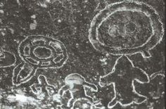 UFO-like craft depicted in ancient cave etchings.