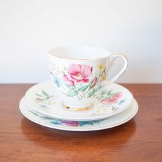 Royal Grafton pink floral fine bone china teacup trio #vintage