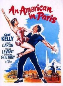 An American in Paris is a 1951 MGM musical film inspired by the 1928 orchestral composition by George Gershwin. Starring Gene Kelly, Leslie Caron, Oscar Levant, Georges Guetary, and Nina Foch, the film is set in Paris, and was directed by Vincente Minnelli from a script by Alan Jay Lerner. The music is by George Gershwin, with lyrics by his brother Ira, with additional music by Saul Chaplin, the music director.
