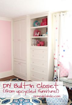 Learn  how to build a built-in closet and shelving from existing furniture | Remodelaholic.com #upcycle #closet #organize #diy @Remodelaholic .com .com .com