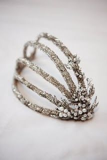 Hairpiece covered with beading from the 1920's~Image via Sandie Bizys Vintage Weddings