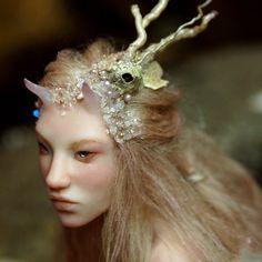 mermaid handsculpt, horn mermaid, nenufarblanco, handsculpt ooak, art dolls, ooak art