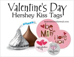 holiday, tags, idea, heart, valentine day, hershey's, hershey kisses, kiss tag, printabl