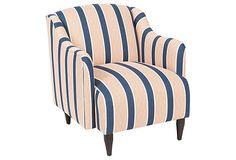 Logan Chair, Navy/Coral on OneKingsLane.com