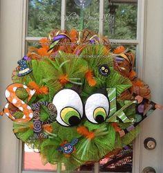 Halloween Spooky Mesh Wreath, Halloween Wreath, Fall Wreath, Deco Mesh, Door Wreath, Home Decor, Poly Mesh