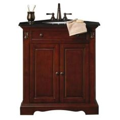 Home Decorators Collection Marseille 31 in. W x 23.5 D Corner Vanity in Chestnut With Black Granite Top-DISCONTINUED-0570400820 at The Home Depot