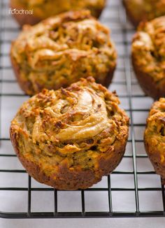 Banana and Peanut Butter Swirl Protein Muffins Servings Per Recipe: 12 Amount Per Serving = 1 muffin: Calories: 159.1 Total Fat: 6.5 g Cholesterol: 0.0 mg Sodium: 206.6 mg Total Carbs: 15.4 g Sugars: 5.2 g Dietary Fiber: 2.4 g Protein: 10.7 g