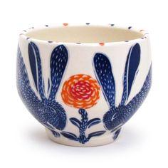 Blue rabbit bowl - Sue Tirrell