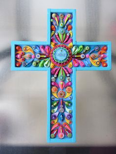 Decorative Wall Cross  Shine Cross Art Deco Vintage by iluvPiC, $75.00