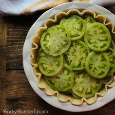 Fried Green Tomato Pie ::: wonkywonderful.com ::: #greentomato #pie #recipe