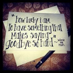 "Notecard ""how lucky I am..."" Winnie the Pooh quote #winnie the pooh #pooh #quote #stationary #blairbailey #children #howluckyiam #love #goodbye"