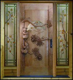 Hand Carved Little Bears Door