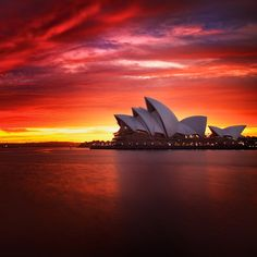 Sunset over the Sydney Opera House.