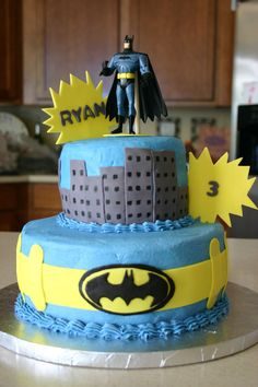 Batman Birthday - I made this cake for my son's 3rd birthday. 6 ...
