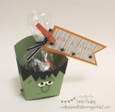 "weSTAMP Regionals :: Confessions of a Stamping Addict ""Bugs and Kisses"" Candy bag has Hersheys Kisses and plastic spiders inside Lorri Heiling Frankenstein,Halloween,Stampin' Up"