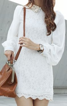 White Contrast Lapel Long Sleeve Lace Embroidery Dress