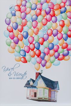 illustrated wedding guestbook idea based on disney's up #disneysup #guestbookideas #weddingchicks http://www.weddingchicks.com/2014/01/10/elegant-garden-wedding/