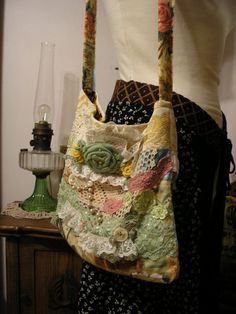 Floral Fabric Bag slouchy crocheted roses lace pearls buttons, colorful