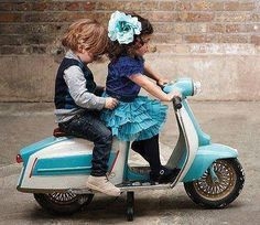 Italian Children on a Mini Vespa <3