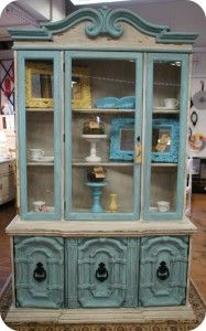 Love the touch of color this would bring.  aqua hutch with diy chalk paint recipe