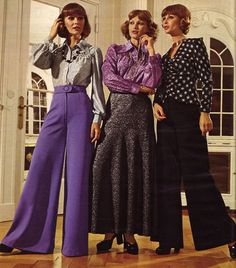 70s fashion, female fashion, business clothes, purple, bells, 1970s, clothing styles, maxi skirts, vintage clothing
