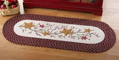 Country Primitive Stars and Berries Braided Runner