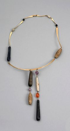 Necklace | Irena Brynner.  Gold, faience, stone.  ca. 1950 - 1955