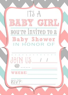 Free baby shower printable invitation