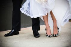 black and white stripe wedding heels