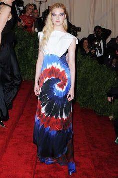 Putting this in the What The Hell? Elle Fanning in Rodarte. At the MET Gala, 2013