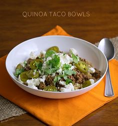 Thirty Minute Quinoa Taco Bowls - This Gal Cooks #glutenfree #healthygrains #groundturkey