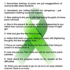Repinned: 10 Ways of Dealing with Panic Attacks // Wait 20 minutes; this too shall pass.