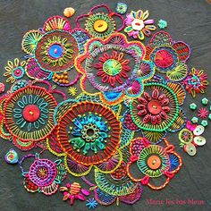 ♒ Enchanting Embroidery ♒  embroidered boho flowers in bright colors