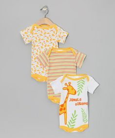 Take a look at this Yellow Giraffe Bodysuit Set by Tots Fifth Avenue on #zulily today!