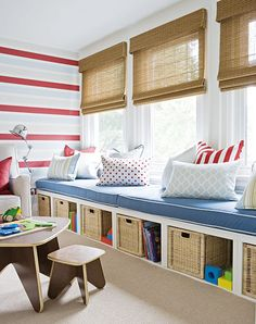 Great playroom storage and seating
