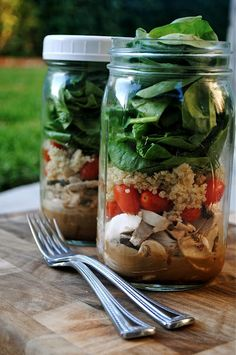 Salad in a jar? Yes! You can make these days in advance and keep in the fridge. As long as the lettuce and the salad dressing aren't touching they'll keep.  Get a delicious dressing recipe and read more about this really great idea here
