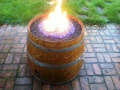 Handmade Propane Wine Barrel Fire Pit