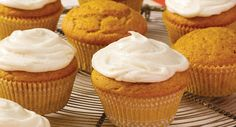 Spiced Pumpkin Cupcakes using a yellow cake mix and dry pudding mix