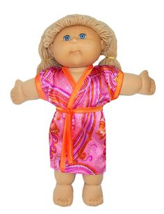 18 1/2 Inch Cabbage Patch Kids Summer Dressing Gown PDF Doll Clothes Pattern with PDF instructions and video tutorial.  Lengthen the sleeves, make it in polar fleece and you have a winter dressing gown too!